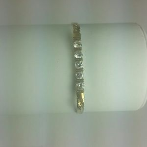 Gold-plated bracelet with 5 clear CZ